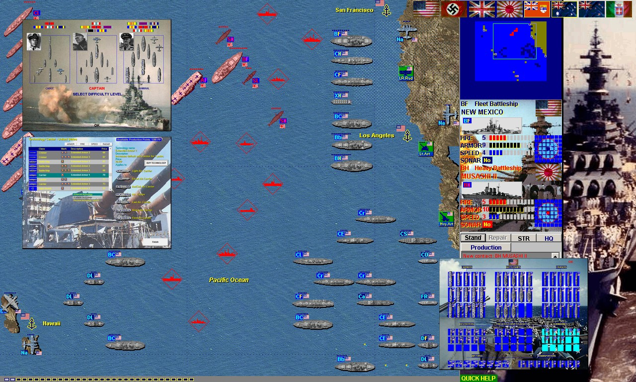 Naval War Battleship Game with 50 ship/plane/sub types in 120 WW2 missions