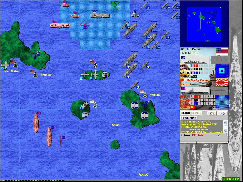 Naval Battleship Game Strategy - BattleFleet Pacific War